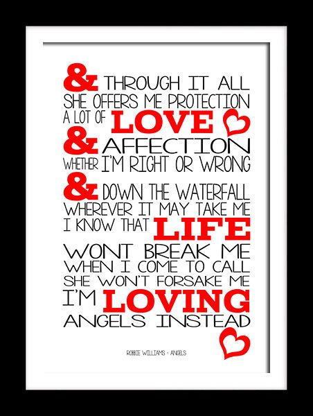 Robbie Williams Angels Song Typography Lyric Wall Art Canvas And