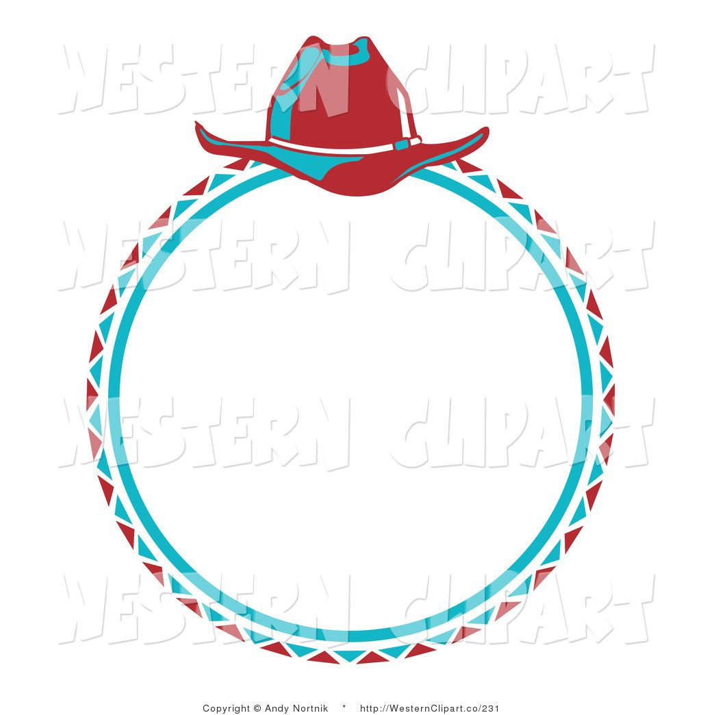 Vector Western Clip Art Of A Blue Cowboy Lasso And A Red