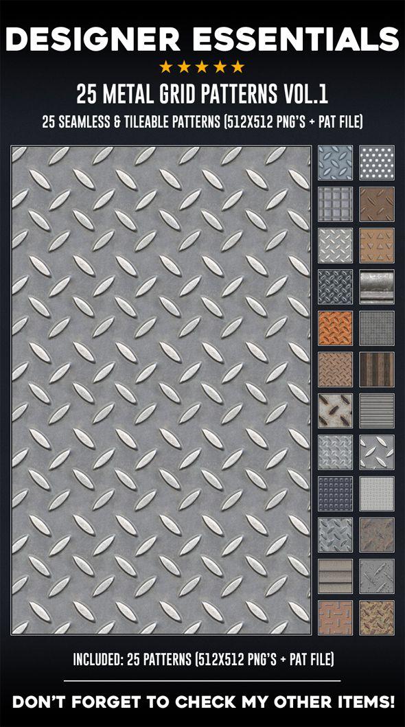 25 Tileable Seamless Metal Grid Patterns Metal Grid Grid Pattern