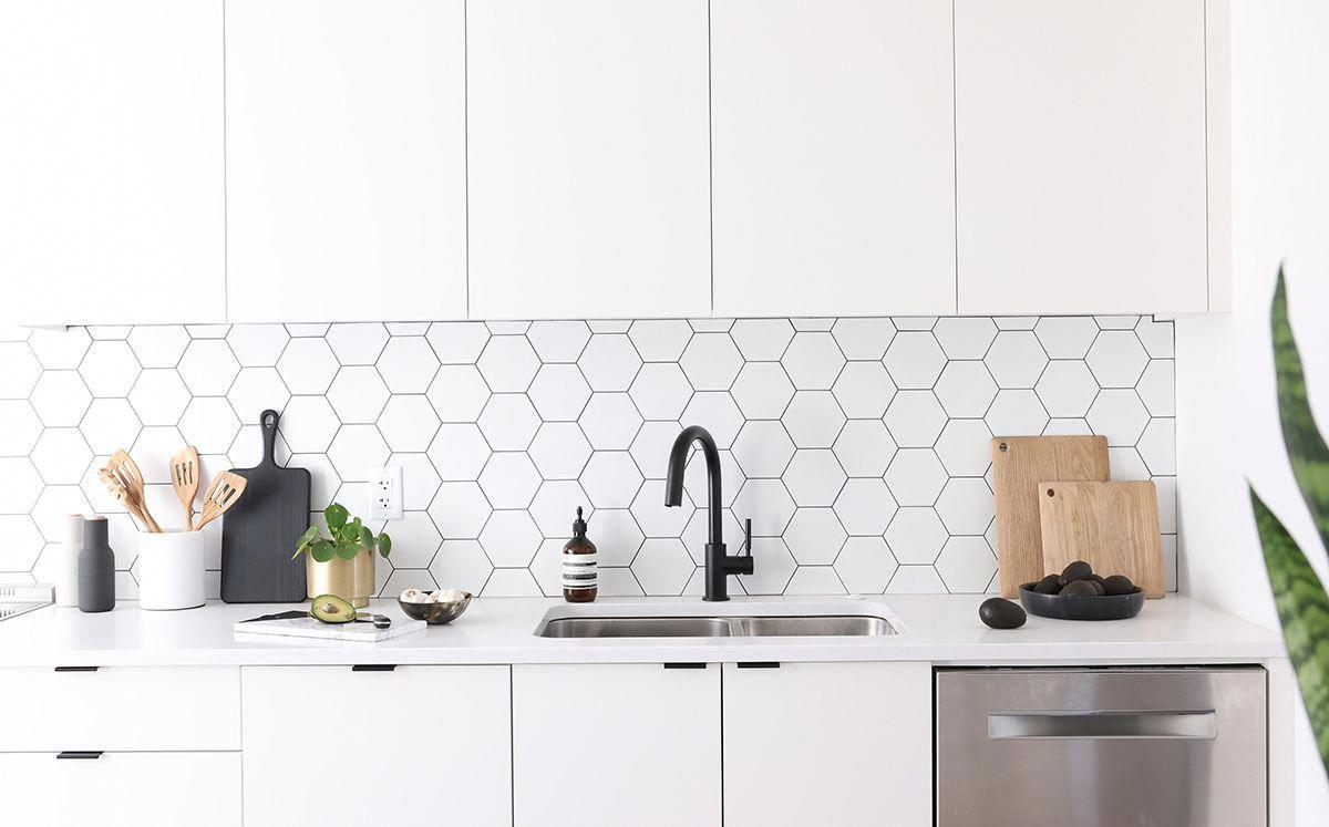 11 Types Of White Kitchen Splashback Tiles Add Interest With Shape Over Colour Minimal White Kitchen Splashback Kitchen Splashback Tiles White Modern Kitchen
