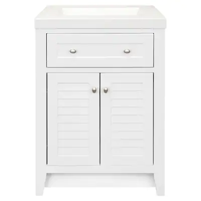 Style Selections Westlake 24 5 In White Single Sink Bathroom Vanity With White Cultured Marble Top Lowes Com In 2020 Single Sink Bathroom Vanity Bathroom Sink Vanity Bathroom Vanity Tops