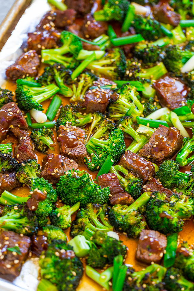 Sheet Pan Chinese Beef and Broccoli (15 Minutes!) - Averie Cooks #sheetpansuppers