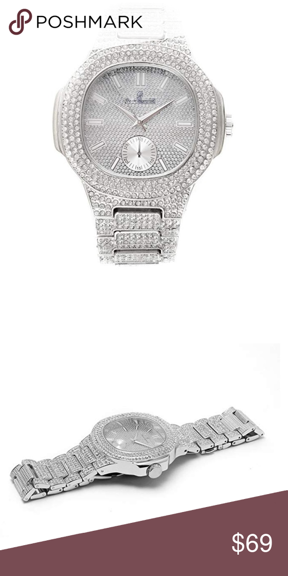 44442c3ffb2f6 Iced Out Watch. Silver Bust Down AP Watch. Bust Down AP Watch. Iced ...