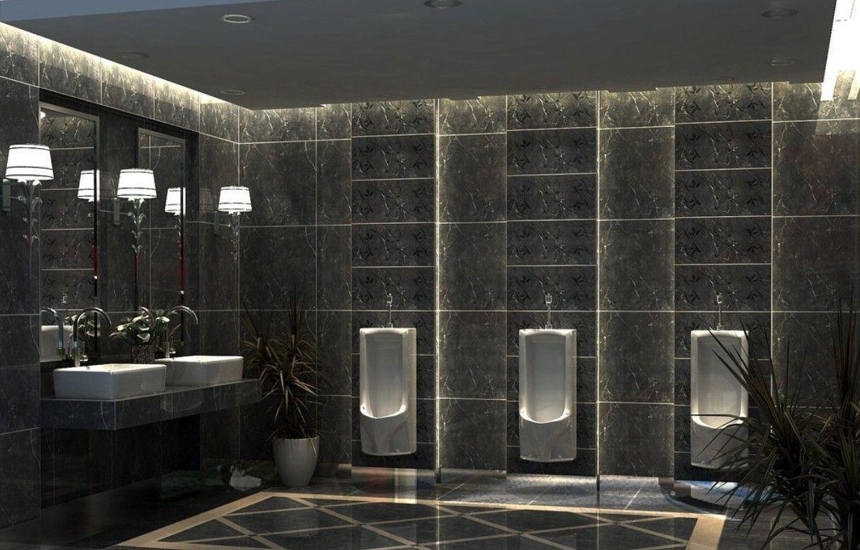 How To Create A Greyscale Bathroom: 3D Public Toilet Room