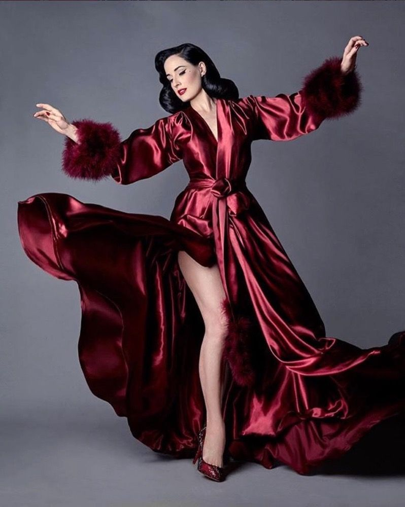 1fa58a3ba987c Image of Dita Von Teese Collection Marabou Bordeaux Dressing Gown