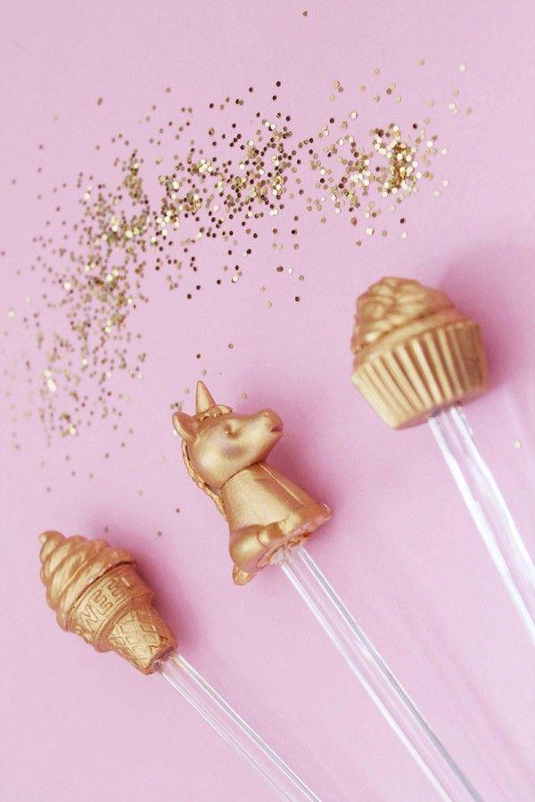 DIY Gilded Novelty Eraser Drink Stirrer - Turn novelty erasers into gilded drink stirrers with a little spray paint!