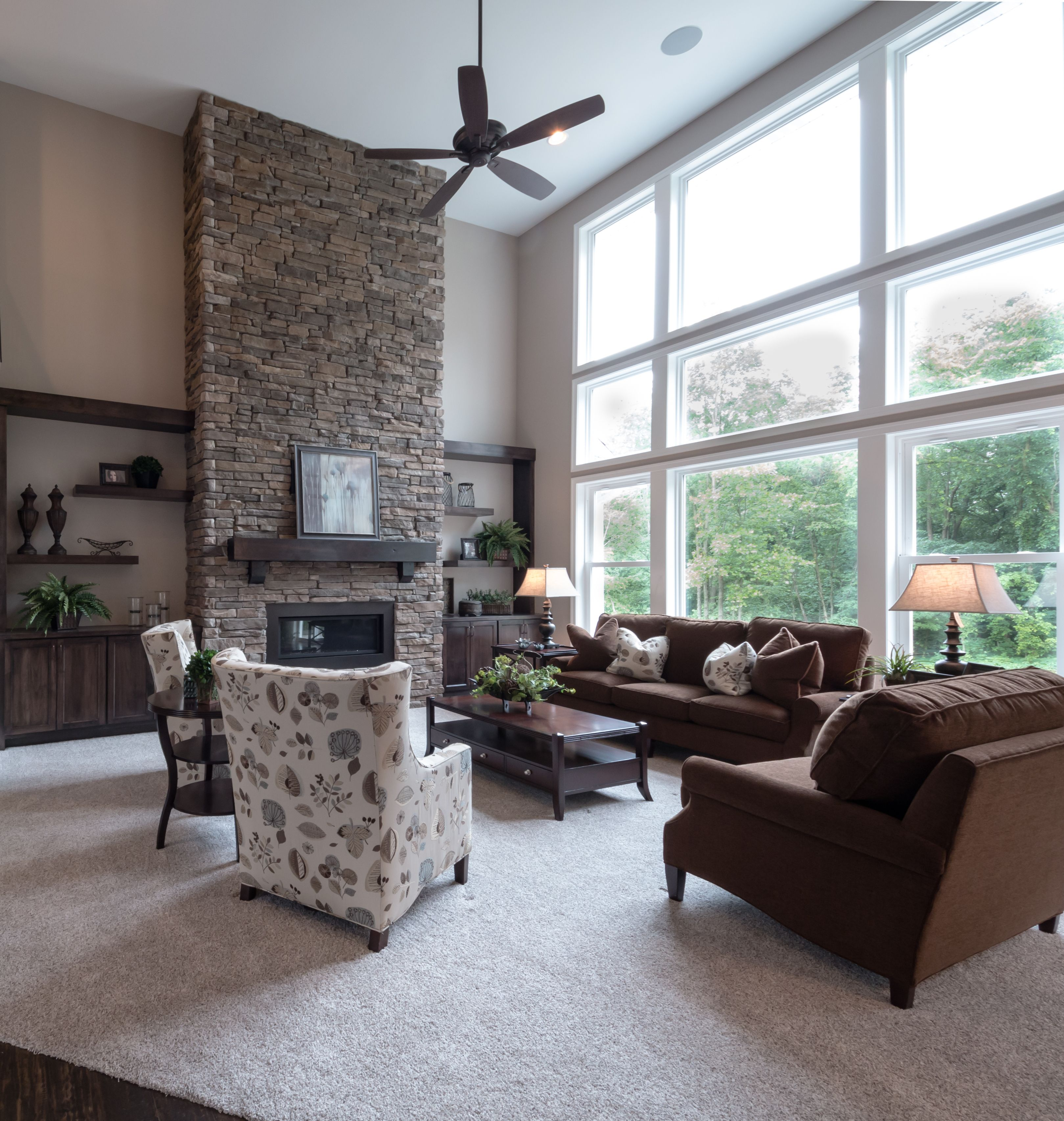 Large Ceiling Fan For Great Room: Floor To Ceiling Stone Surround Gas Fireplace With Custom