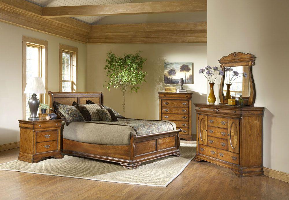 Lafayette Low Profile Sleigh Bedroom Set 5 Pc American Oak