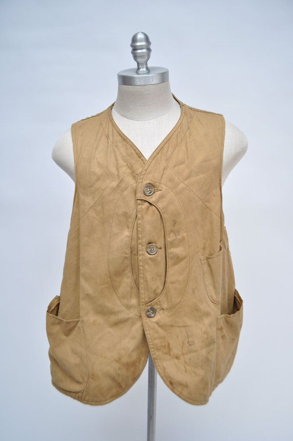 36beff9c38057 vintage hunting vest 1930s HALF MOON canvas 30s | Old photos ...