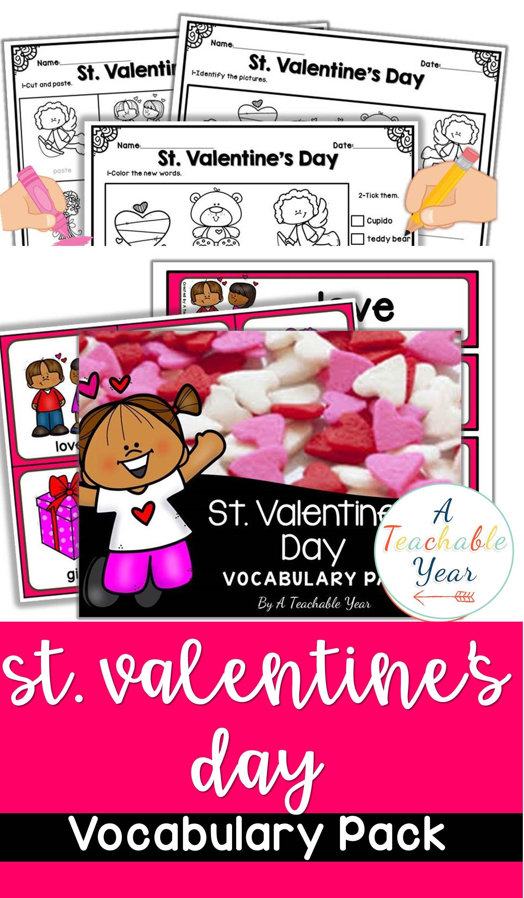 St Valentine S Day Vocabulary Activities And Worksheets