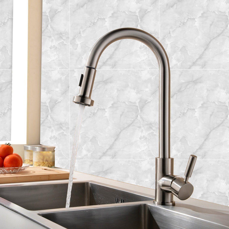 Black Single Handle Swivel Spout Pull Out Mixer Sink Kitchen Taps ...