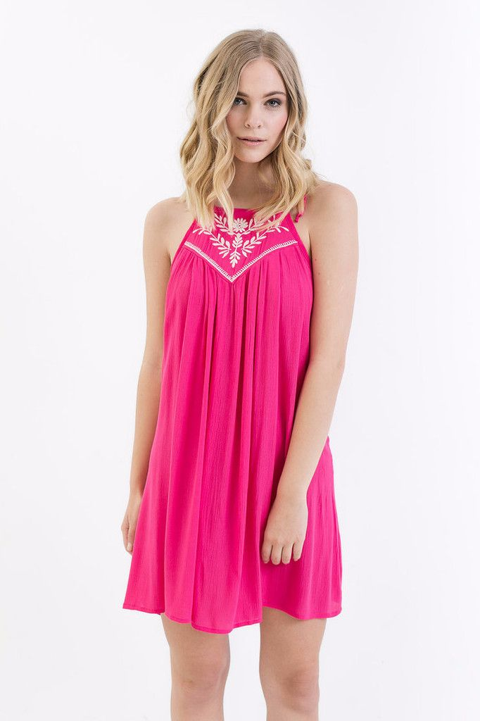 Ella Embroidered Halter Dress // An embroidered hot pink halter ...