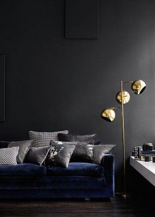 Le Mur De Peinture Noir Dans Le Salon Cree Un Intérieur Au
