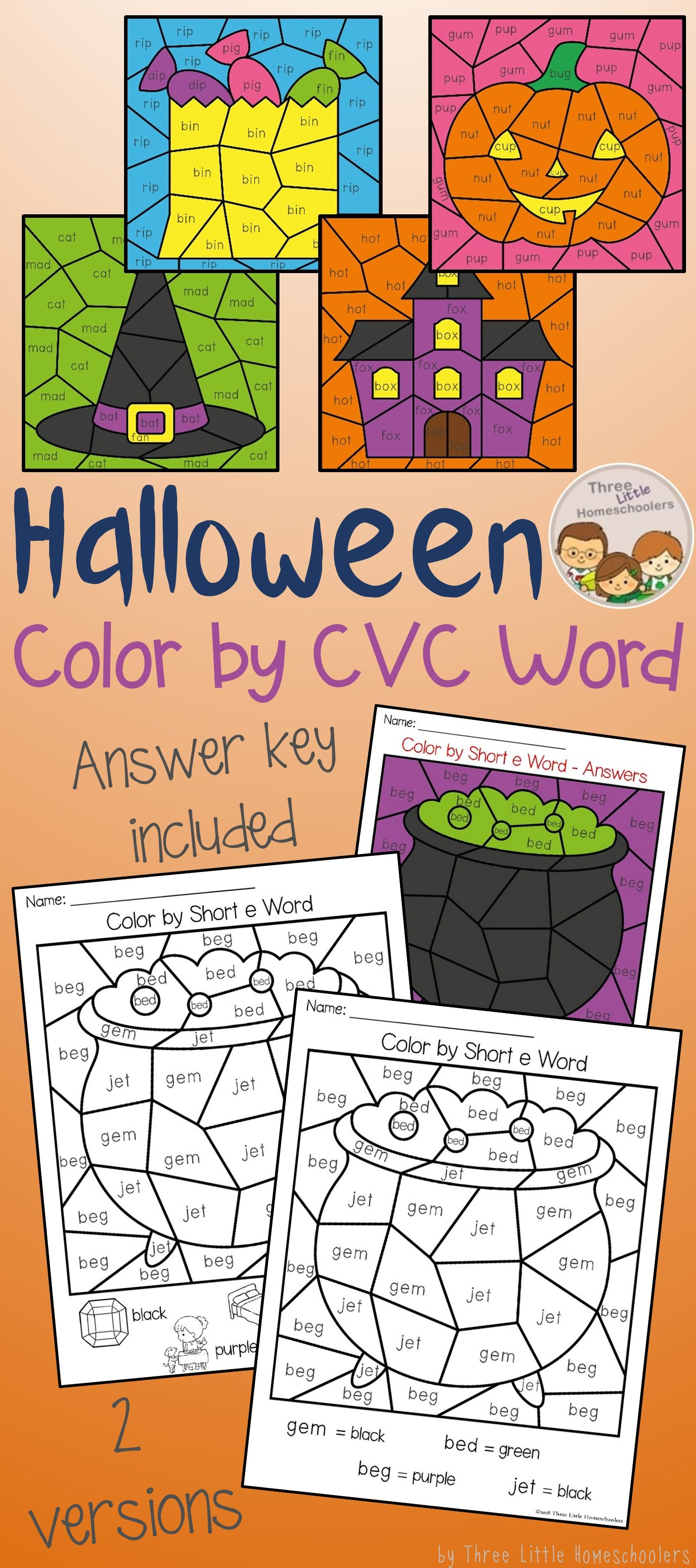 Halloween Color By Cvc Word