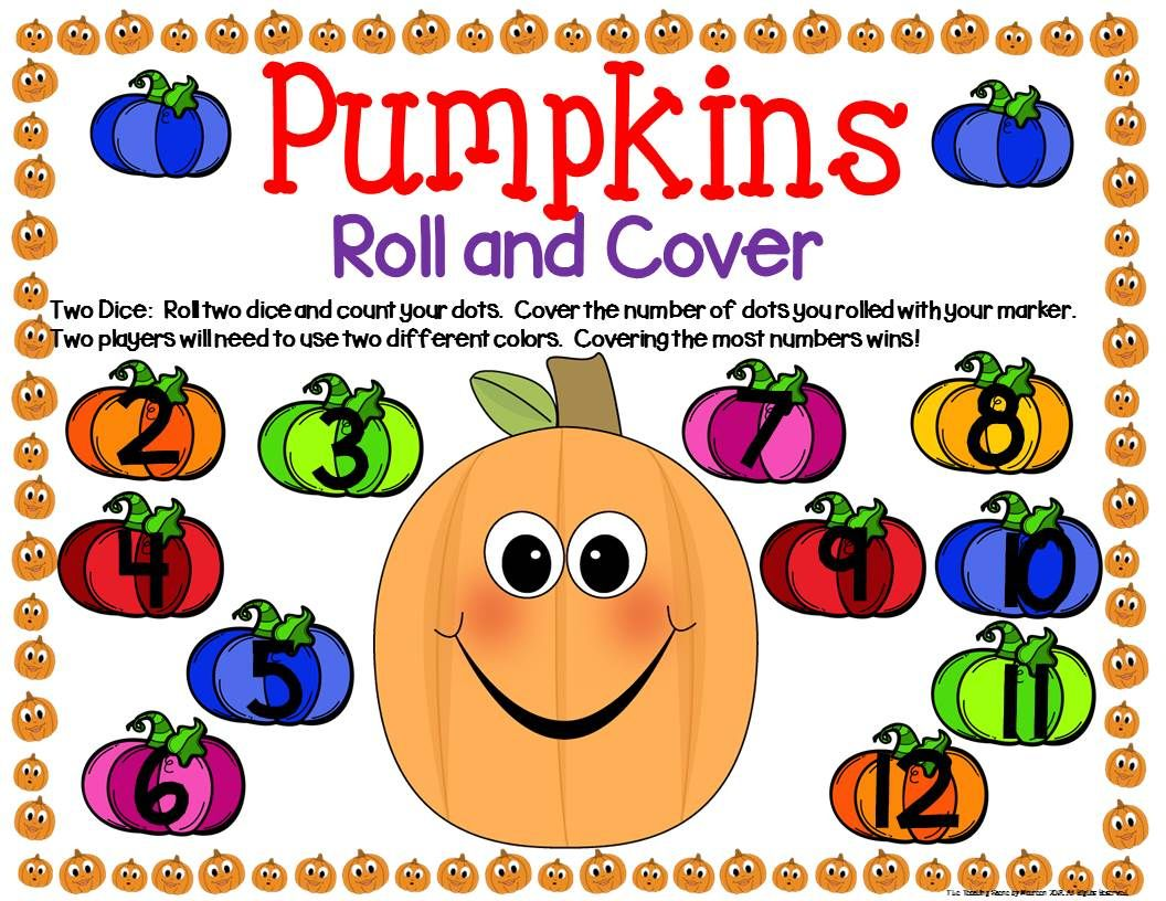 Pumpkin Math Center Dice Games