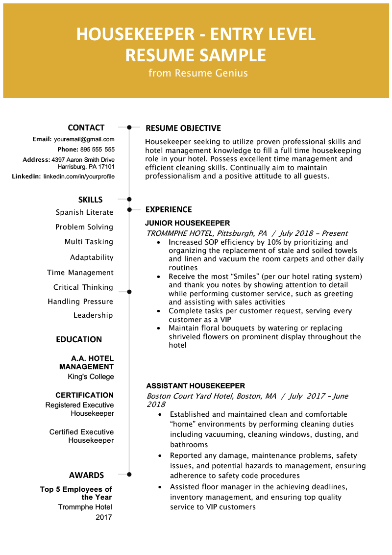 EntryLevel Hotel Housekeeper Resume Sample Resume