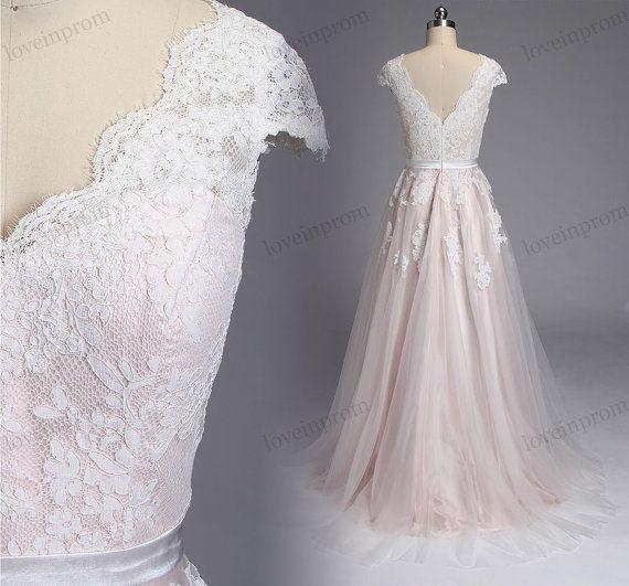 Vintage Spitze Rosa Hochzeitskleid Kappe Armeln Von Loveinprom