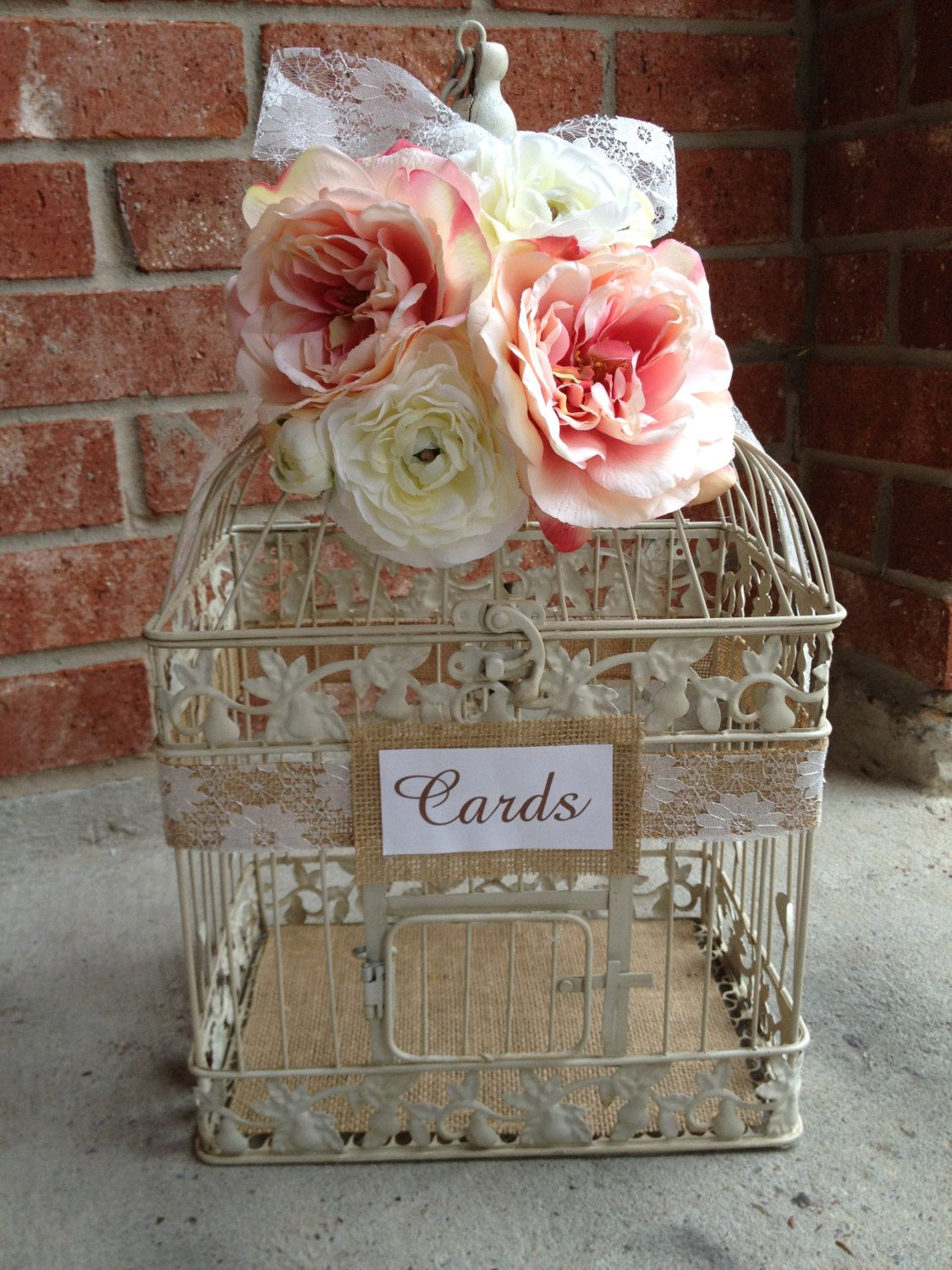 Large Wedding Bird Cage Card Holder Burlap And Lace With Pale Pink