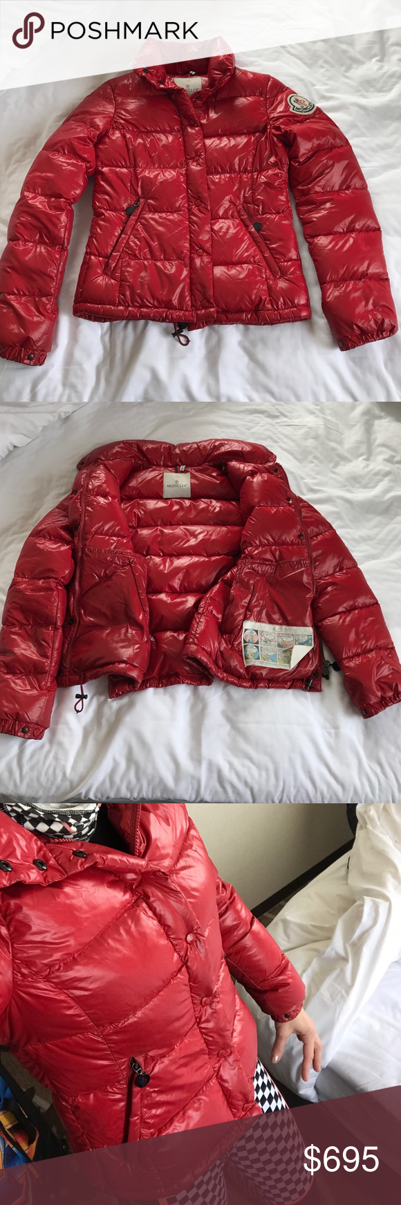 """Authentic moncler down red jacket Authentic moncler down red jacket, purchased from Bloomingdales , size 0 which is xs . Has a 1/2"""" opening on a side seam but was repaired and otherwise in great condition , pics of all sides/entire jacket are shown Moncler Jackets & Coats Puffers"""