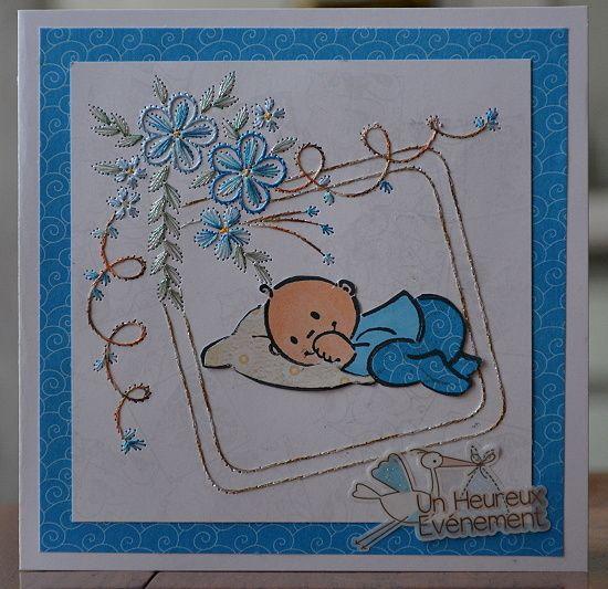 Carte brodée pour une naissance (garçon