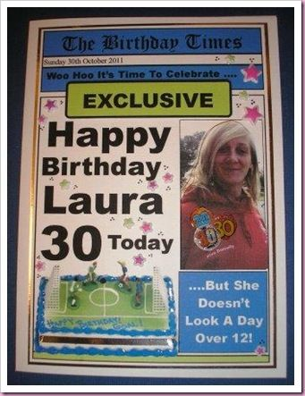 30th birthday newspaper card its all fiddle fart pinterest 30th birthday newspaper card bookmarktalkfo Choice Image