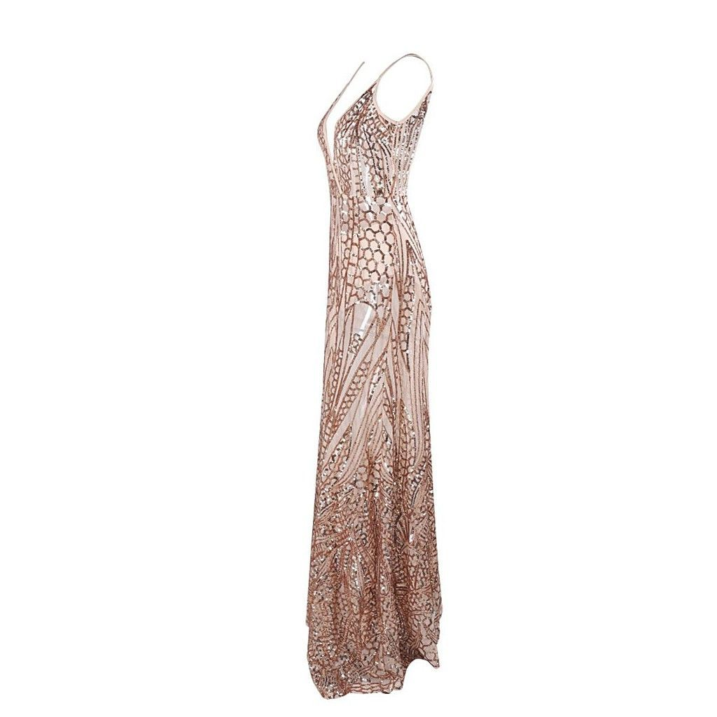 Gold sequin evening gown casual party dresses sequin evening