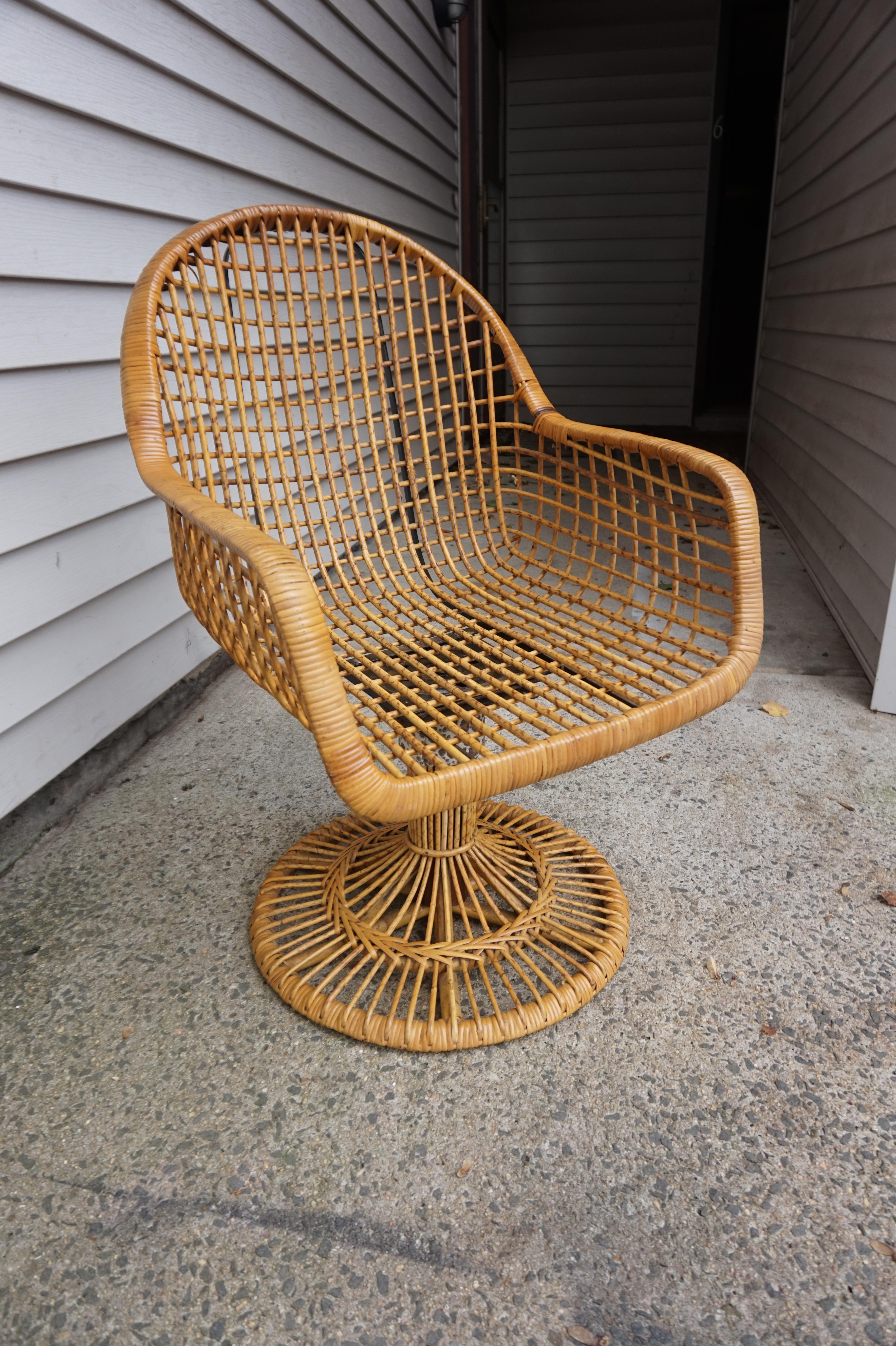 Franco Albini Era Bamboo Swivel Chair Chairish Chair Swivel Chair Shabby Chic Table And Chairs