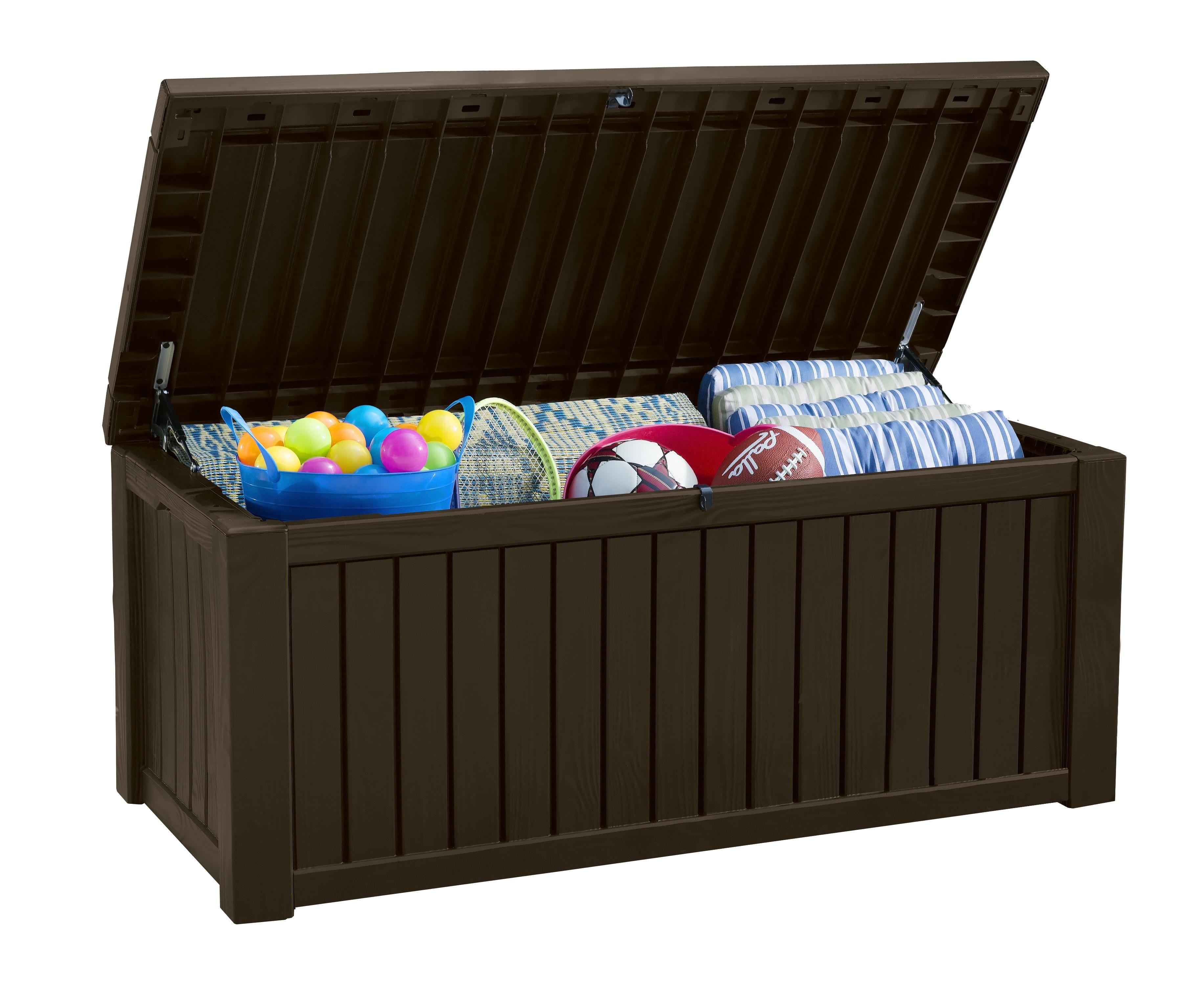 Keter Rockwood Patio Storage Deck Box Patio Furniture Outdoor