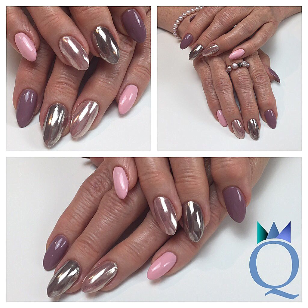 almondnails #nails #gelnails #chrome #lightrose #mauve #mandelform ...