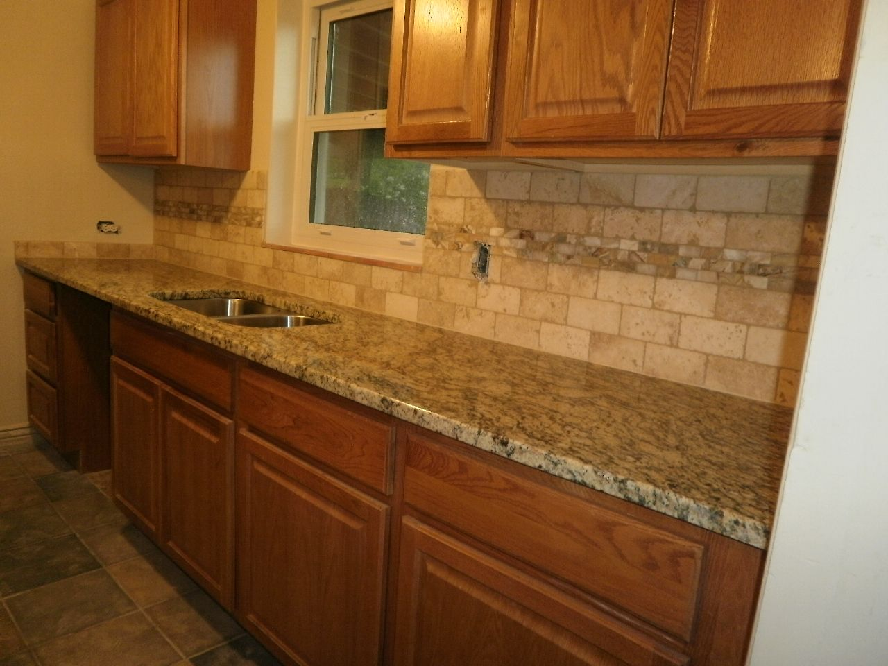 Just Completed 3x6 Tumbled Travertine Backsplash With A Honey