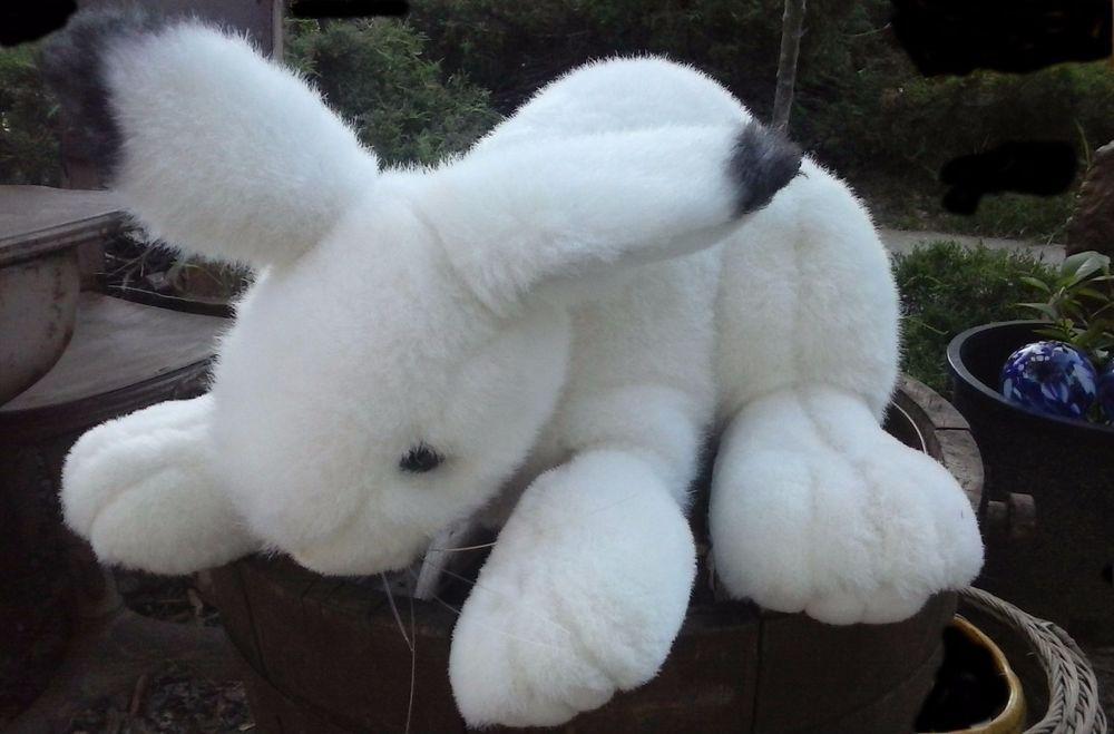 Smithsonian Realistic Bunny Rabbit White Plush Stuffed Animal Easter