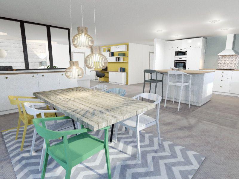 Salle à Manger Cuisine Ouverte Verrière Style Scandinave Béton - Table salle a manger scandinave occasion pour idees de deco de cuisine