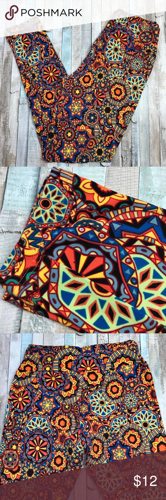 Lularoe leggings OS soft bright geometric yellow (With