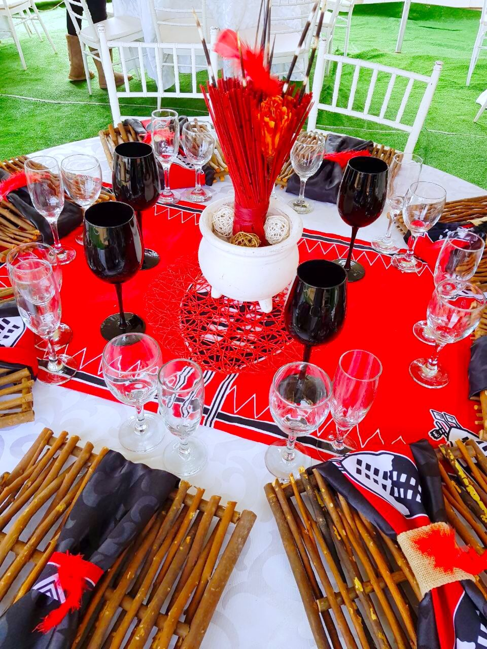 Black Red And White Swazi Traditional Wedding Decor By