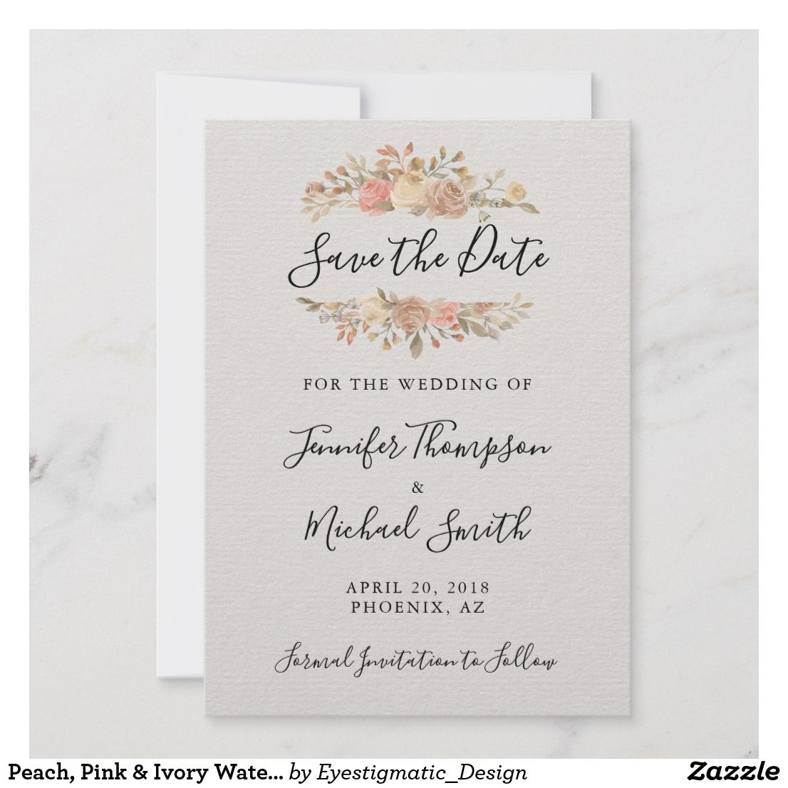 peach pink ivory watercolor save the date card save the date cardswedding wedding invitationssave the date save the date cards save the date magnets