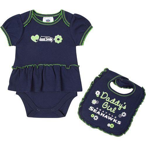 "Seattle Seahawks ""Daddy's Girl"" Bodysuit & Bib Set - Baby"