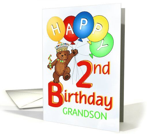 Happy 2nd Birthday Royal Teddy Bear For Grandson Card