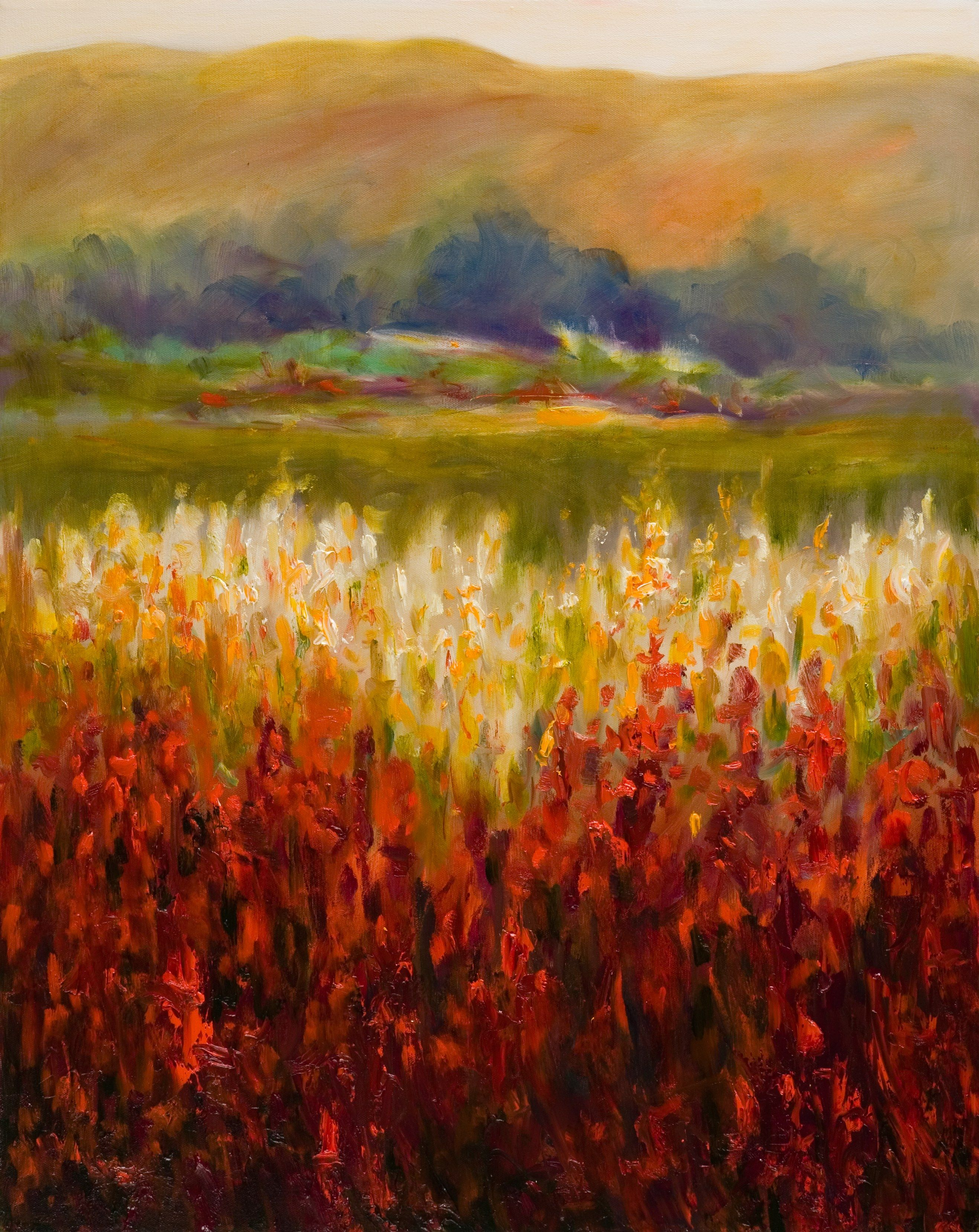 Abstract Landscape Painting Santa Rosa Valley, Oil on Canvas By ...
