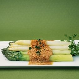 Asparagus with Brown Buttered Breadcrumbs-  Wolfgang Puck