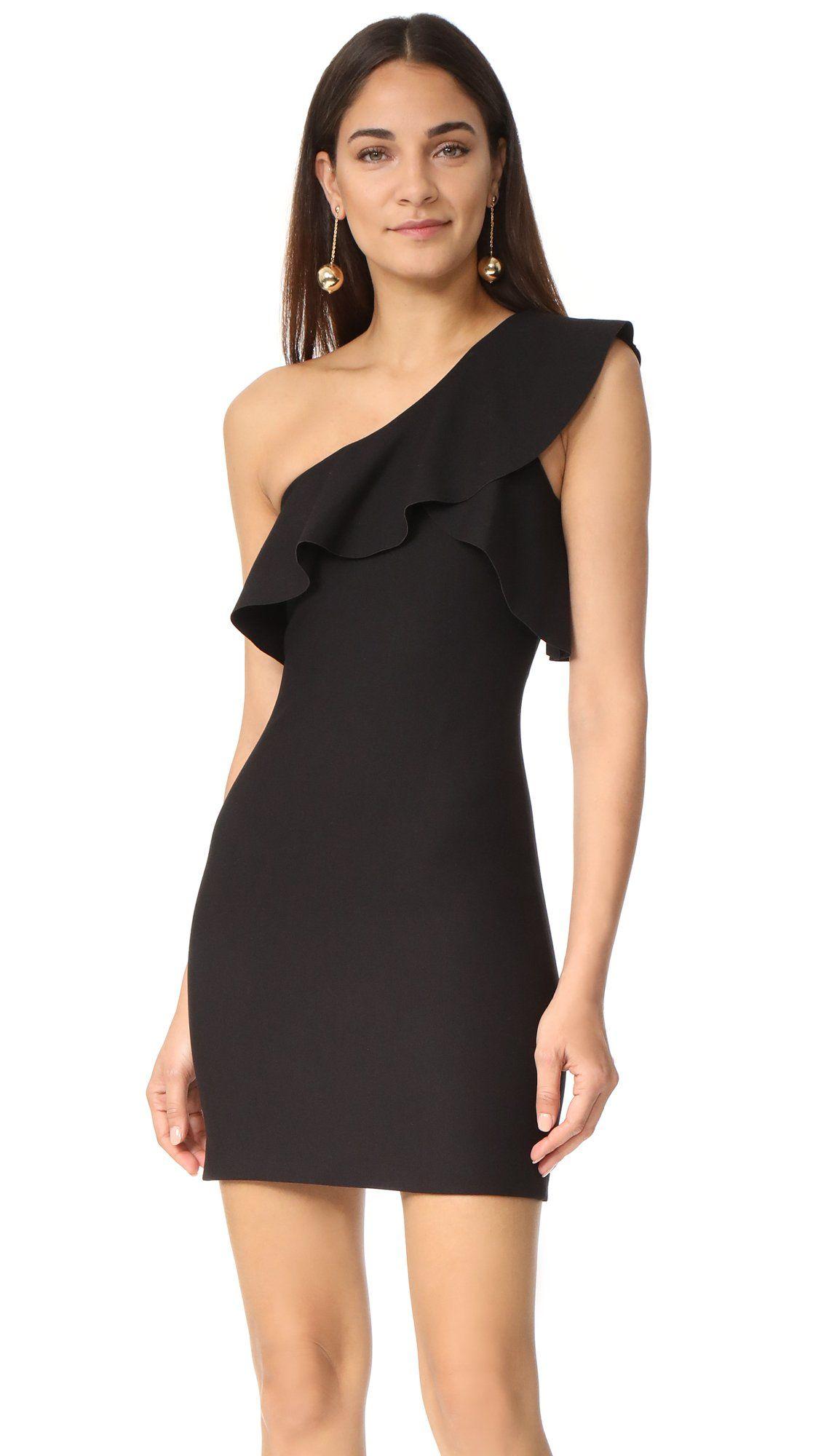 Elizabeth and james womenus jerard one shoulder ruffle dress black