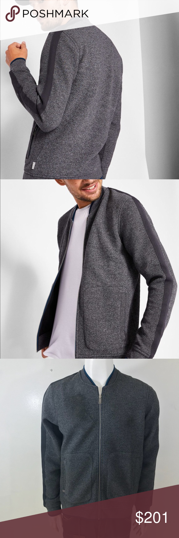 8491f0aec1c1e Ted Baker WHATTS Striped Trim Textured Bomber