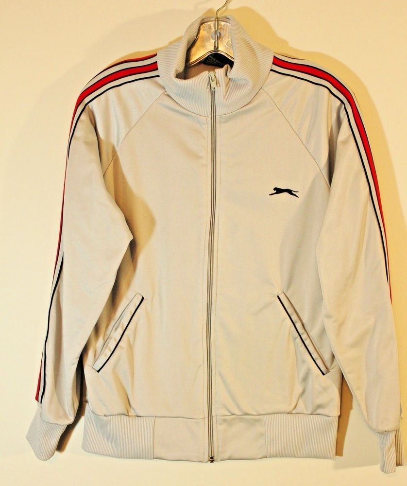 4c08bc88c27 Vintage Slazenger Gray Shiny Striped Arm Polyester Track Jacket Mens Size  Small #Slazenger #vintage