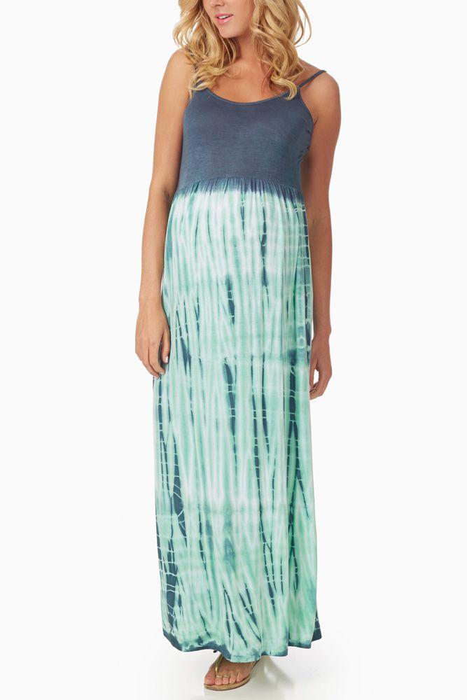 Navy Blue Mint Tie Dye Print Maternity Maxi Dress ...