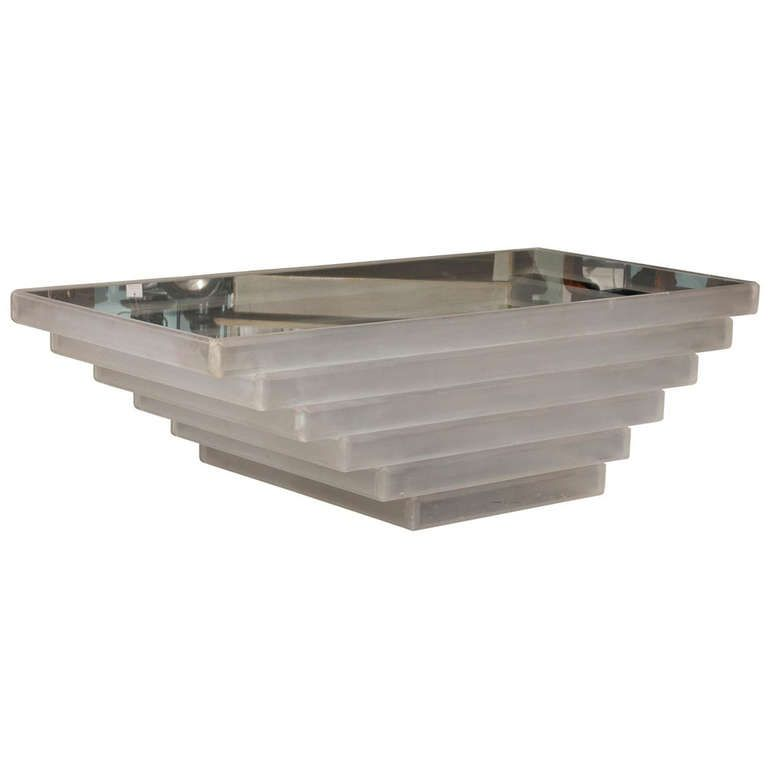 American Vintage Lucite Coffee Table with Graded Sides