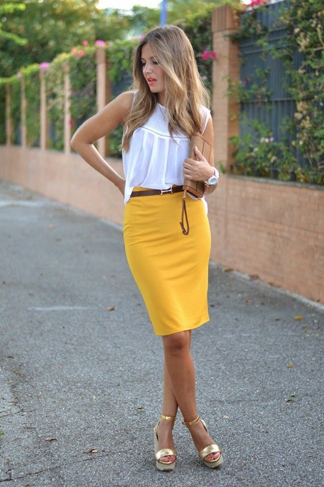 f713b46b609  roressclothes closet ideas  women fashion outfit  clothing style apparel  White Top and Yellow Pencil Skirt