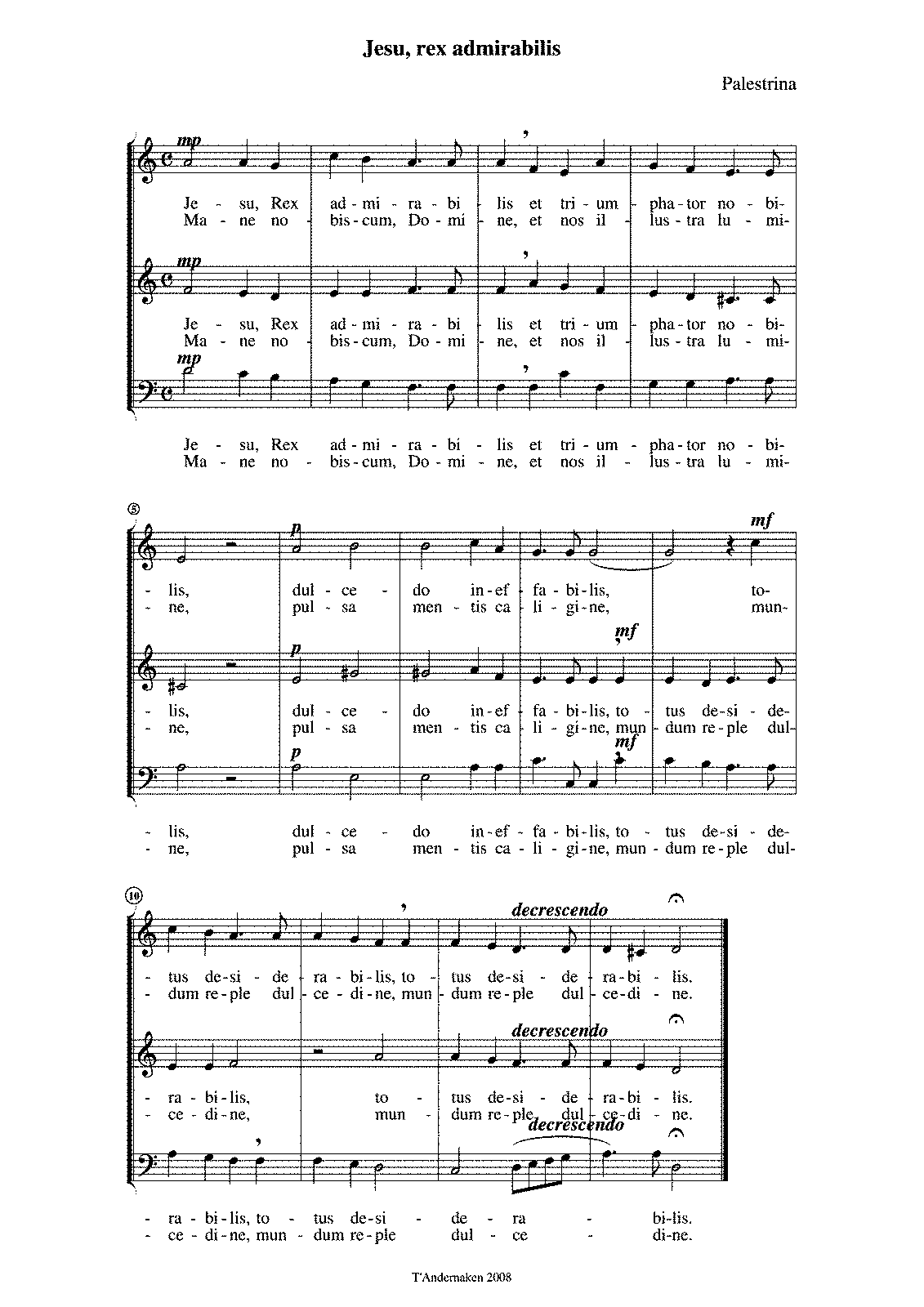 Jesu! Rex admirabilis (Palestrina, Giovanni Pierluigi da) - IMSLP