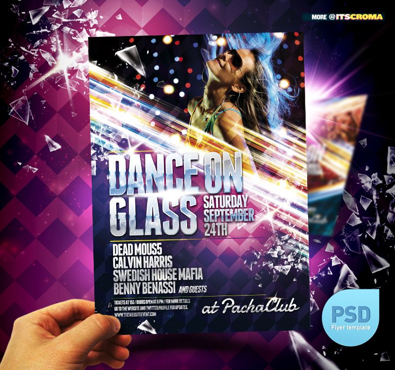 Nightclub Party Flyer Template  Dance On Glass  Party Flyer