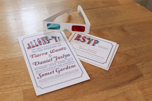 Geeky DoctorWho wedding invites. Love the use of ten\'s 3D glasses ...