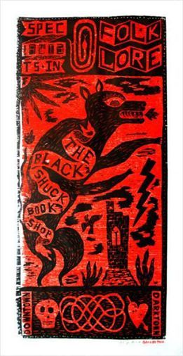 """""""The Black Shuck Bookshop"""" by Jonny Hannah.  For an opportunity to win a signed copy of the artist's """"Greetings From Darktown: An Illustrator's Miscellany"""" follow the link to the ''Black Shuck"""" competition at Hornseys'. Winner chosen by Jonny Hannah..."""