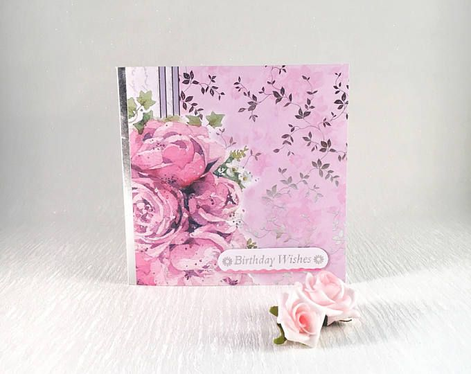 Birthday Card Cards For Her Greeting Handmade Pink Roses